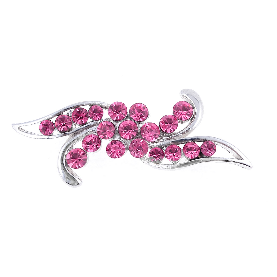 Fuchsia Rhinestones Cluster Leaf Shape Silver Tone Metal Brooch for Ladies