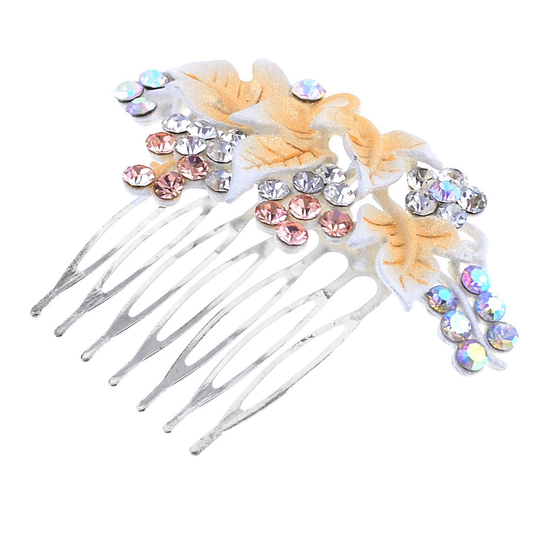 Woman Apricot Clear Bling Bling Rhinestones Cluster Grape Shaped Hair Comb Clip