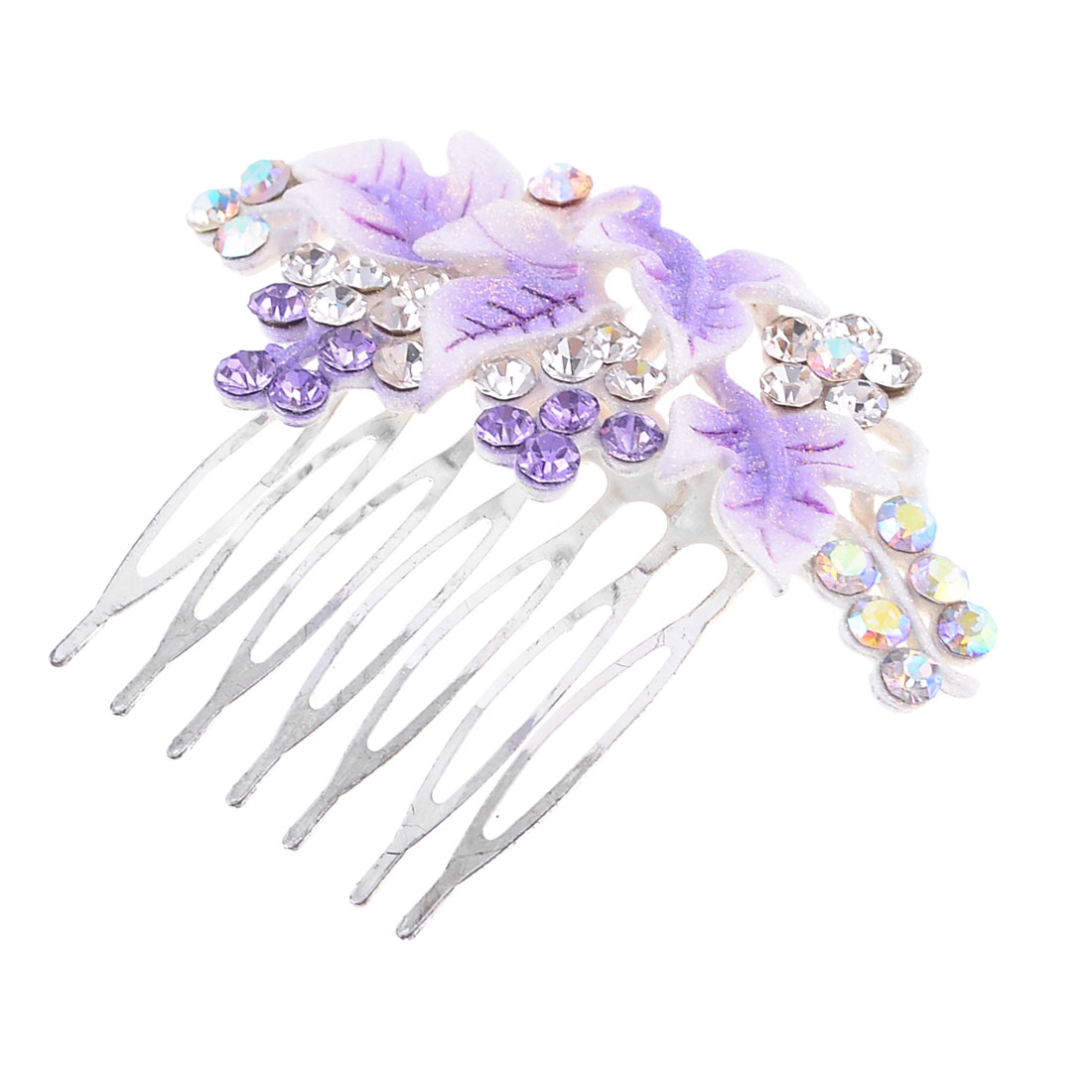 Silver Tone Purple Rhinestones Bunch Grape Design Hair Comb Clip for Ladies