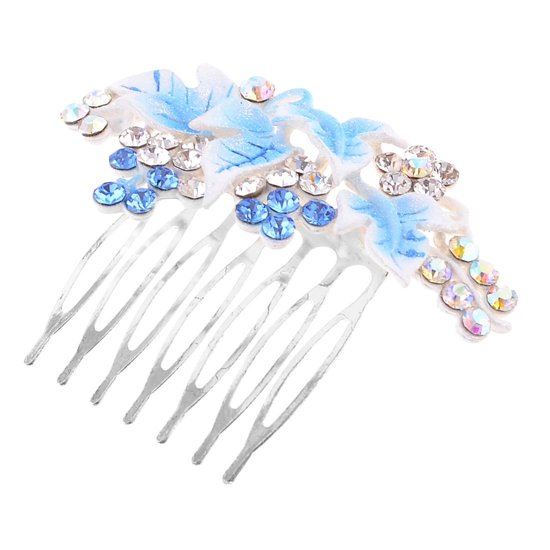 Woman Bling Bling Blue Clear Rhinestones Cluster Grape Shape Hair Comb Clip