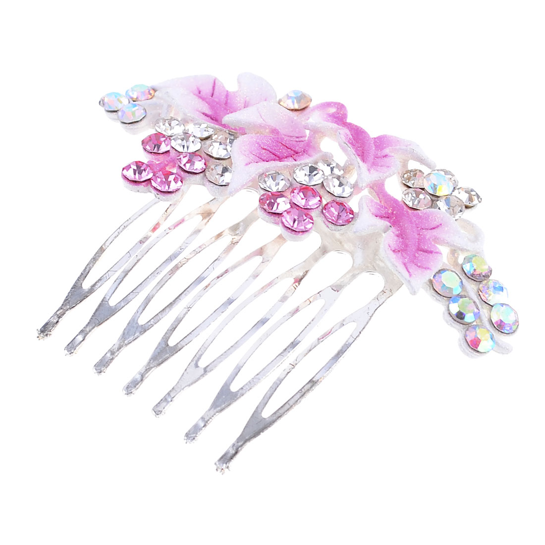 Women DIY Hairstyle Silver Tone Teeth Glittery Power Accent Leaf Hair Comb Clip