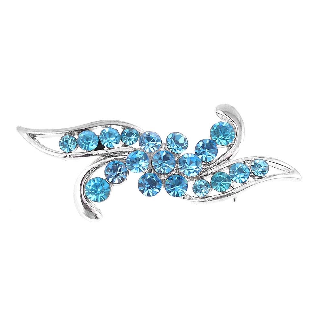 5cm Width Blue Rhinestone Inlaid Floral Style Silver Tone Breastpin Broach