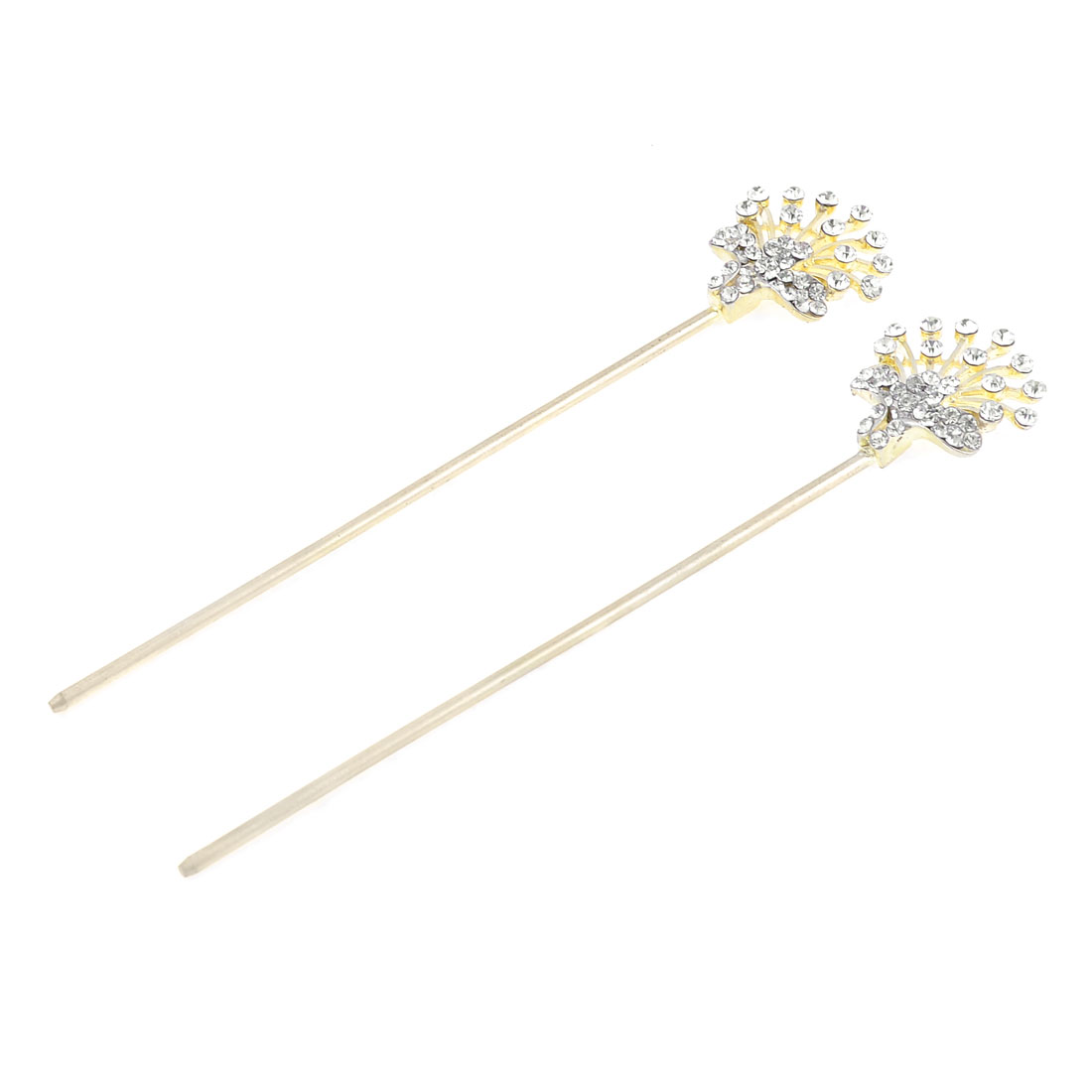 2 Pcs Bling Bling Rhinestones Cluster Peacock Tail Detail Hair Sticks Gold Tone