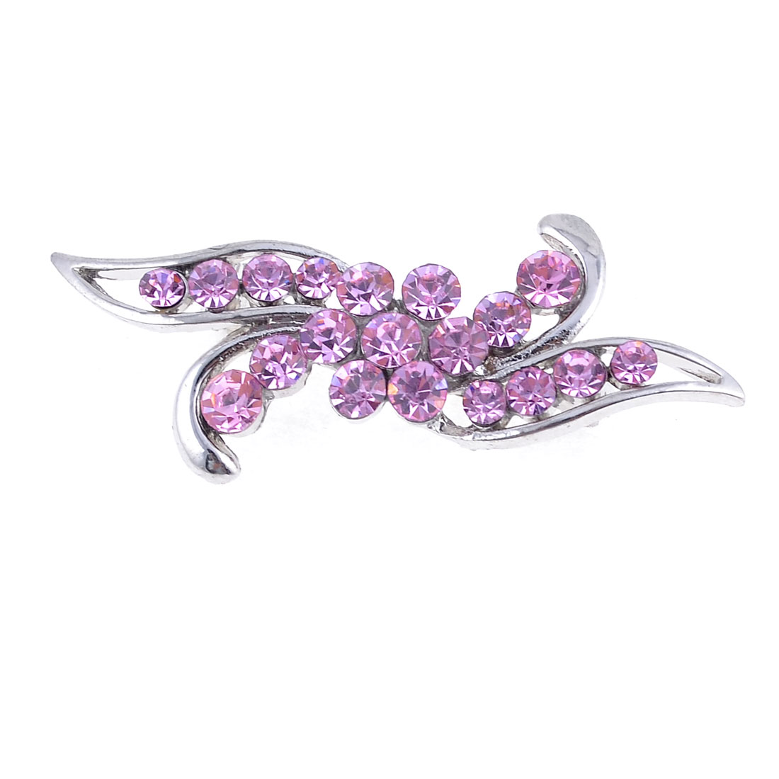 "2"" Width Pink Rhinestones Cluster Silver Tone Leaf Shaped Brooch for Ladies"