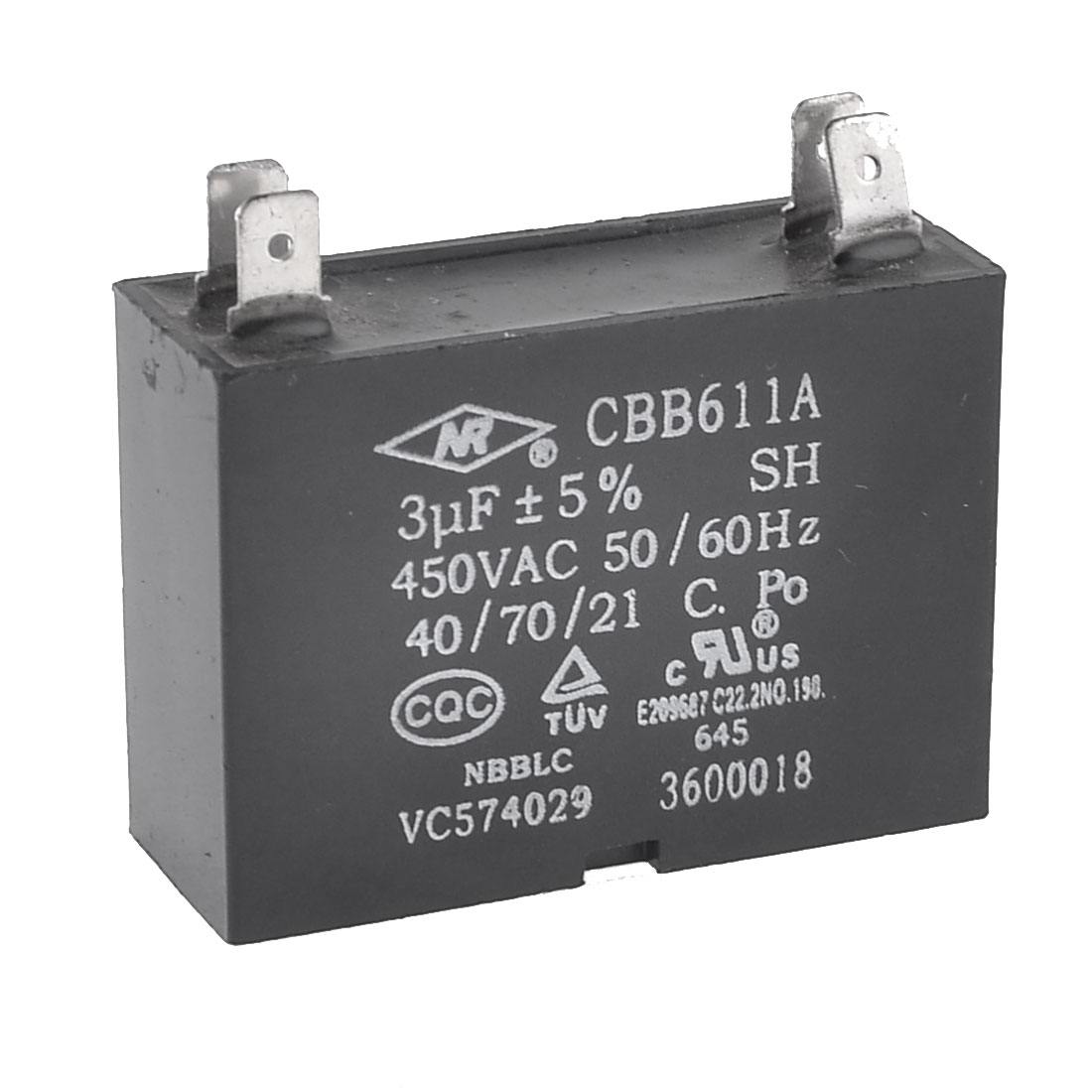 AC 450V 3uF 4 Pins Air Conditioner Motor Capacitor Black