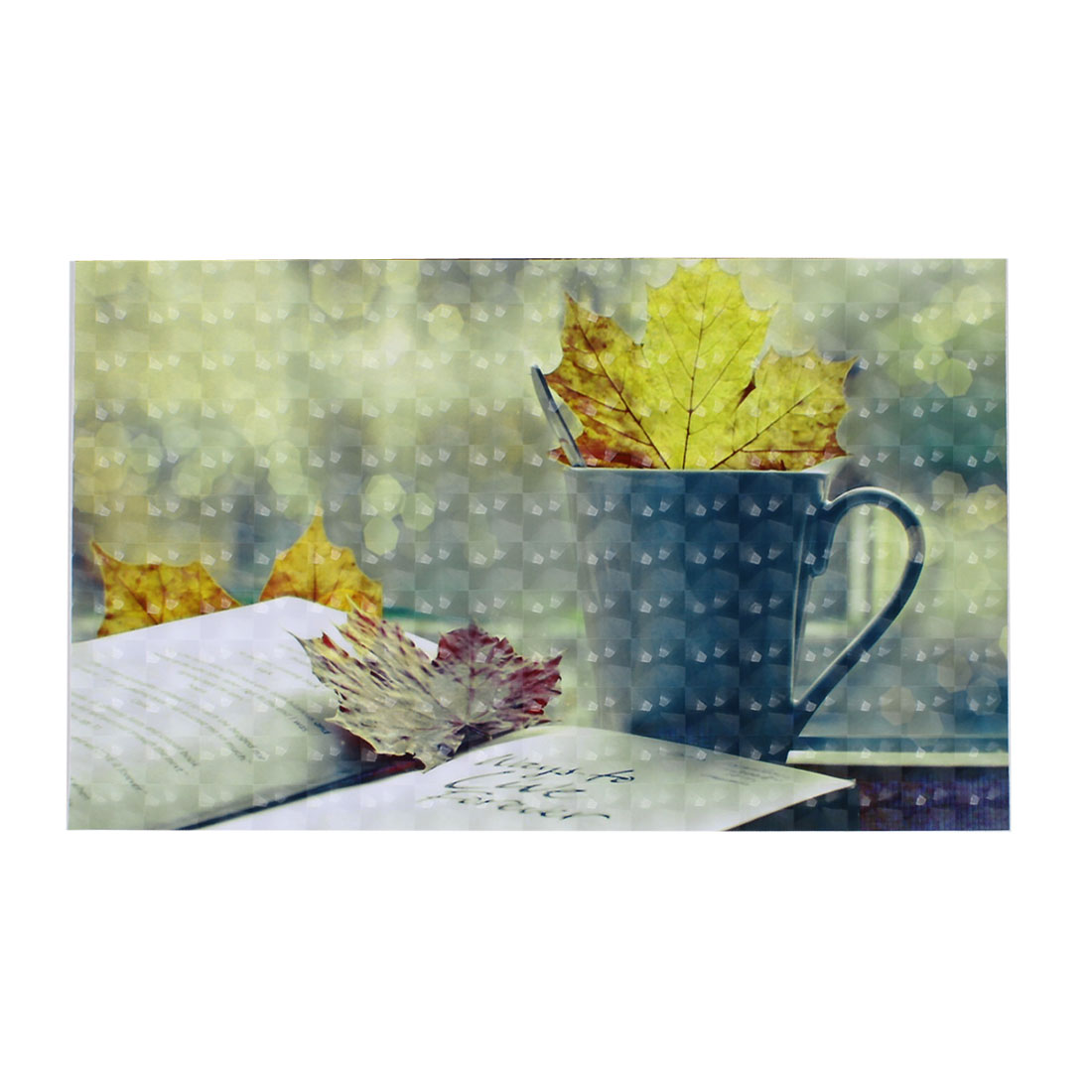 "Cup Book Maple Leaf Pattern 3D Decorative Sticker Decal for 15"" 15.4"" Laptops"