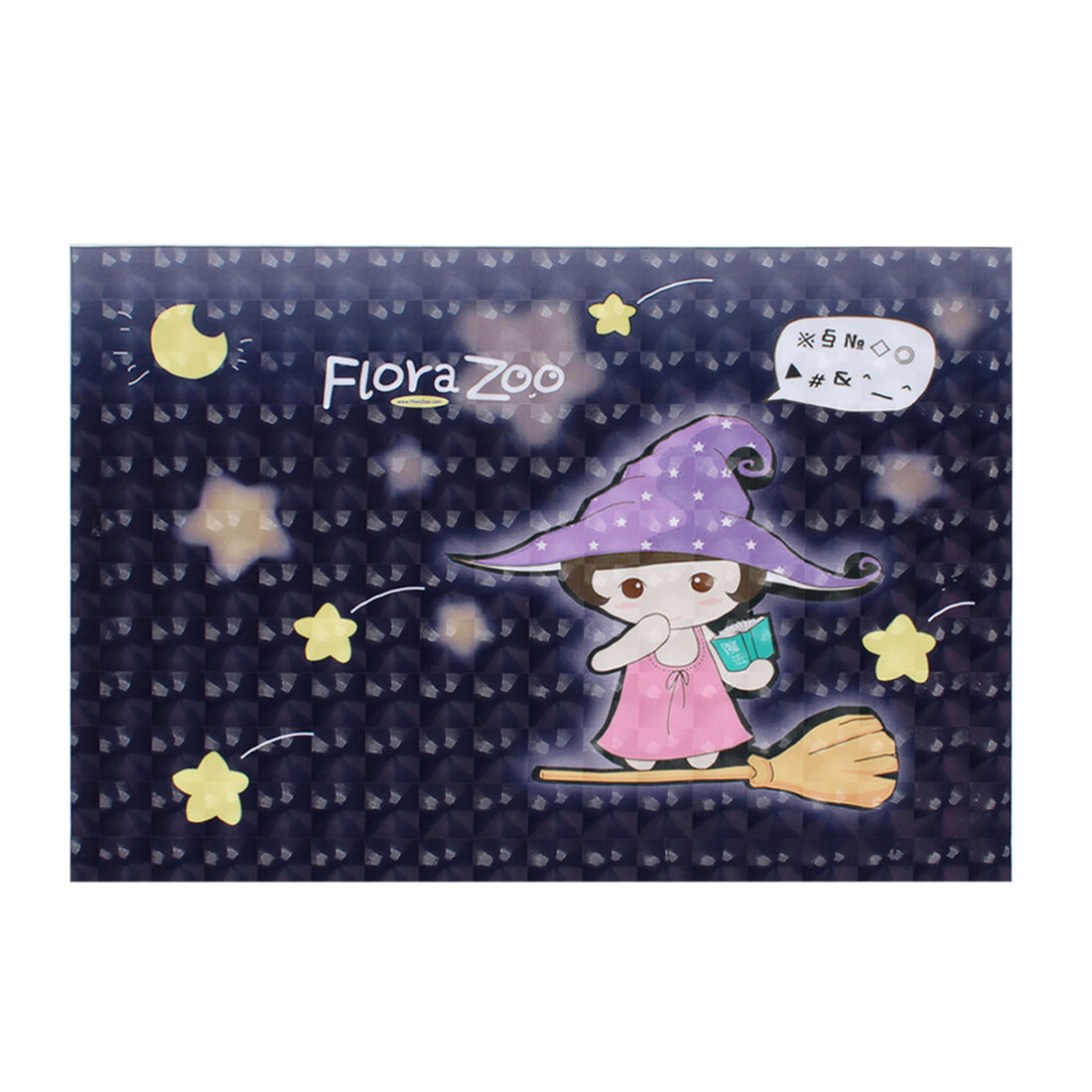 "Cartoon Girl Yellow Star Moon Dark Purple 3D Sticker Decal for 15"" Laptop PC"