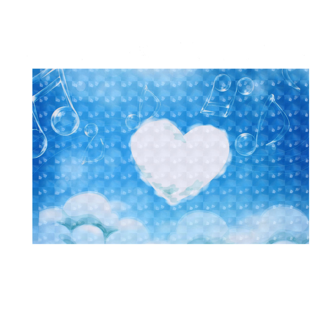"White Heart Shape Cloud Sky Blue Decorative 3D Sticker Decal for 15"" Laptop PC"