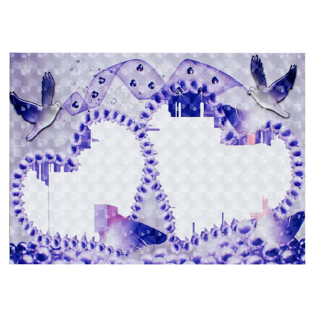 "Purple Heart Dove White 3D Decorative Sticker Decal for 15"" 15.4"" Laptop PC"