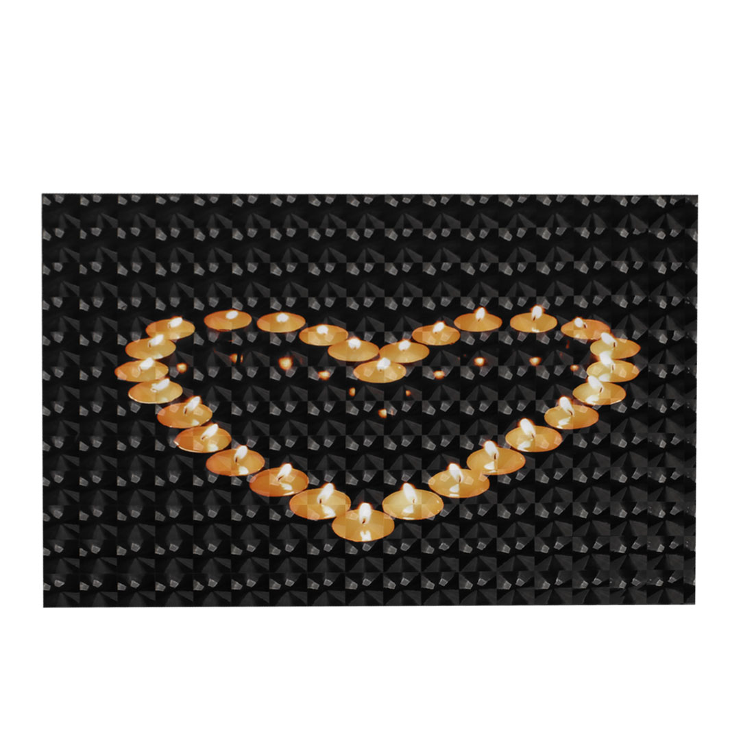 "Orange Love Heart Candle Pattern Black 3D Sticker Decal for 15"" Laptop PC"