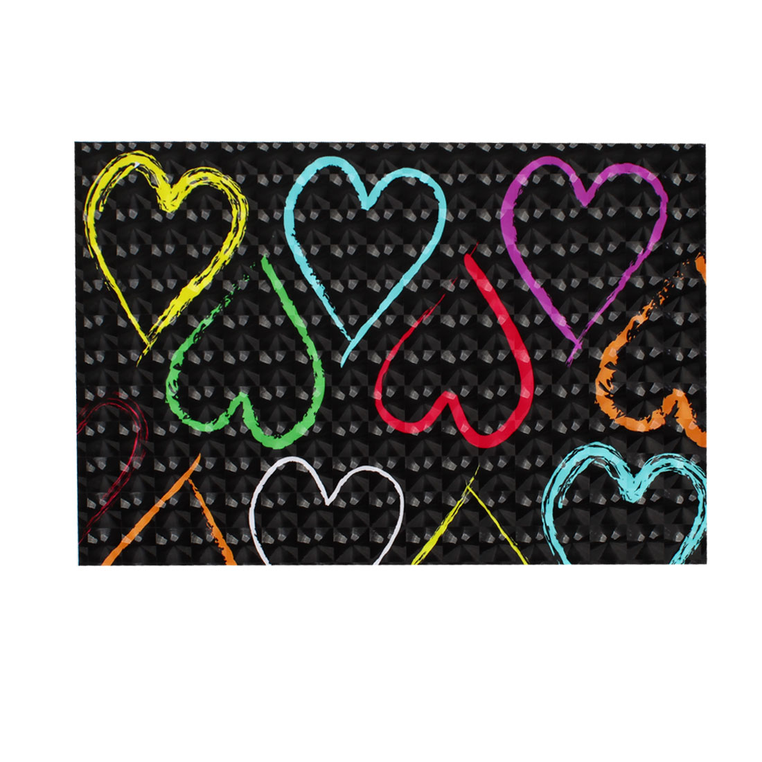 "Assorted Color Love Heart Pattern Black 3D Sticker Decal for 15"" Laptop PC"