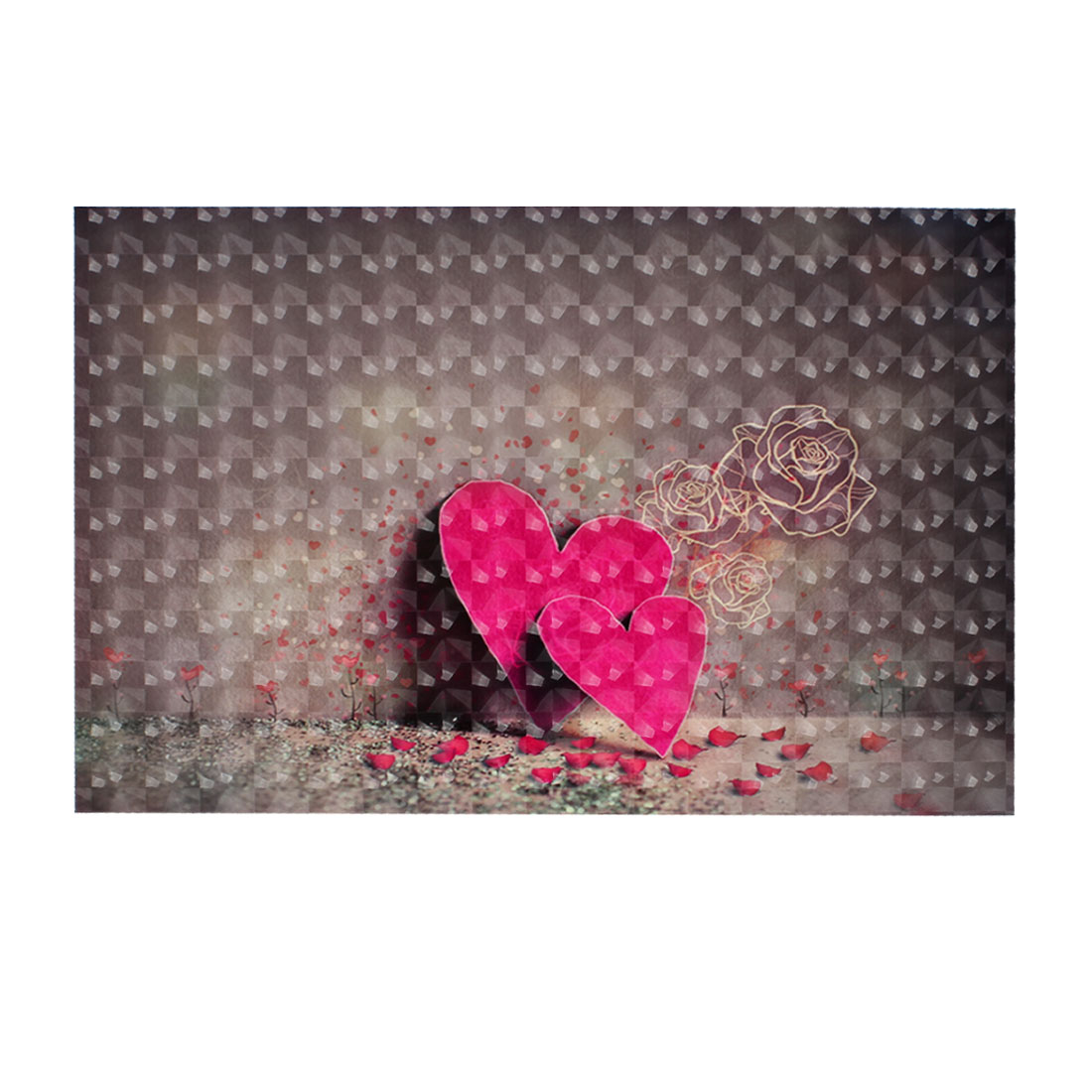 "Red Love Heart Rose Petal Pattern 3D Sticker Decal for 15"" Laptop PC"