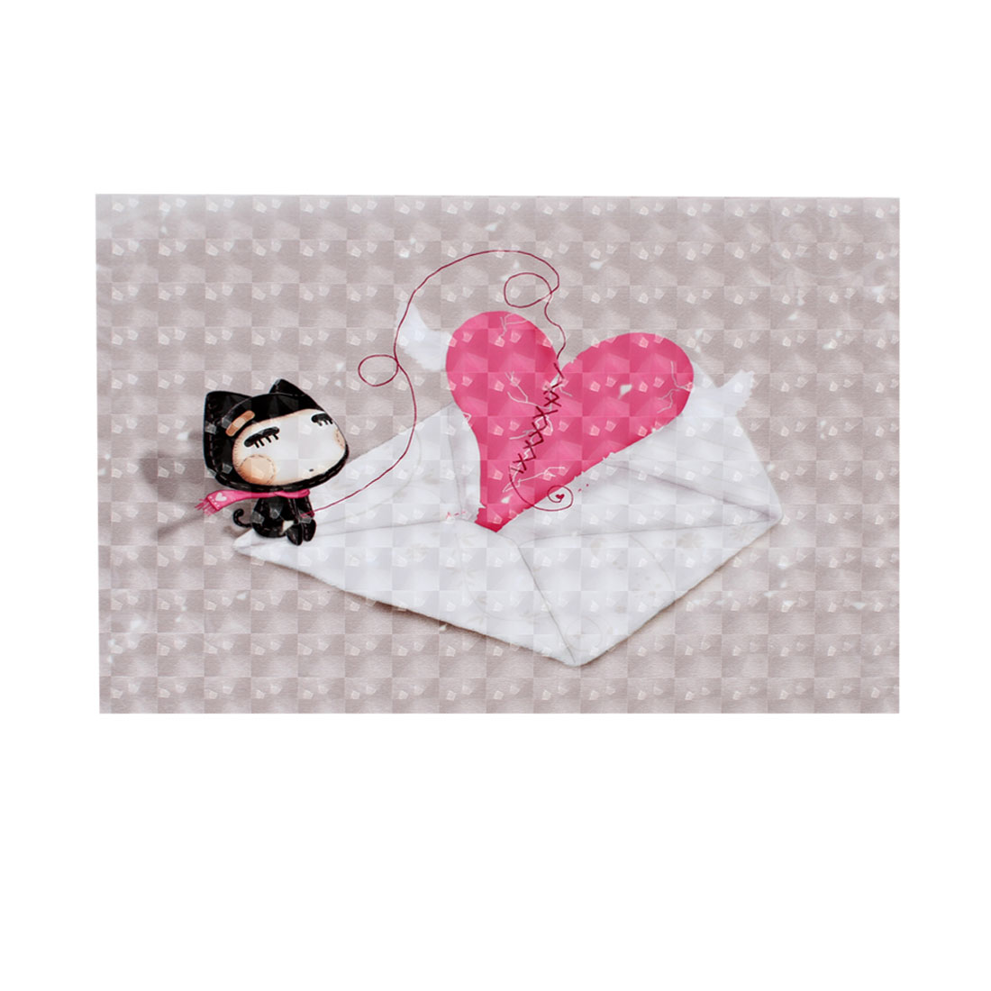 "Cartoon Cat Heart Envelope 3D Decorative Sticker Decal for 15"" 15.4"" Laptop PC"