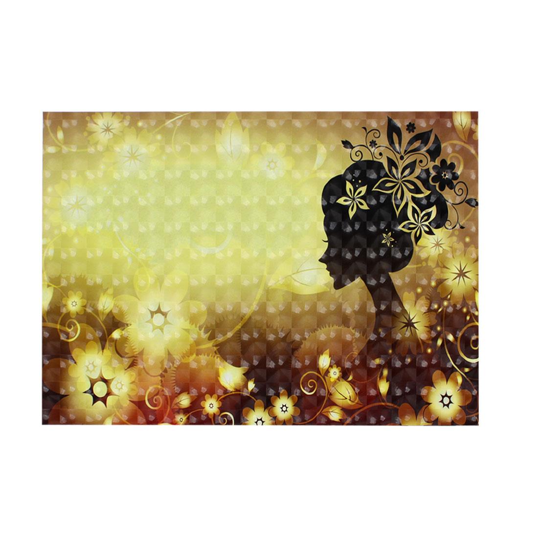 "Black Lady Flower Swirl Pattern Dark Khaki 3D Sticker Decal for 15"" Laptop PC"