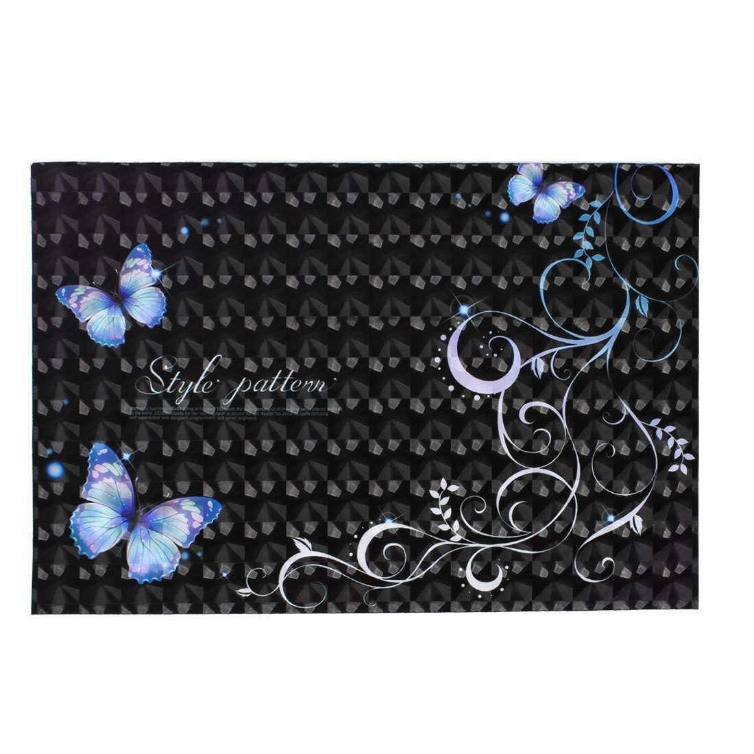 "Butterfly Flower Swirl Pattern Black 3D Sticker Decal for 14"" Laptop PC"