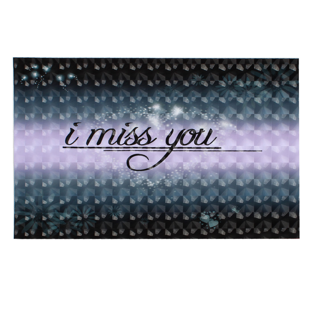 "I Miss You Flower Heart Pattern Dark Gray 3D Sticker Decal for 14"" Laptop PC"
