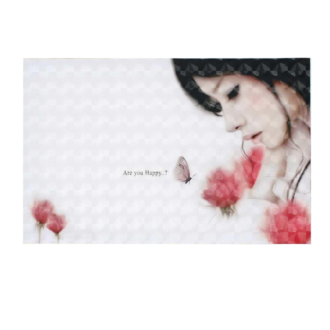 "Anime Girl Flower Butterfly Pattern White 3D Sticker Decal for 14"" Laptop PC"