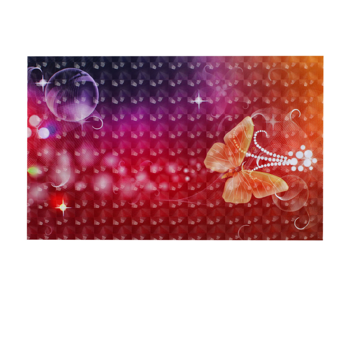 "Orange Red Purple Butterfly Flower Pattern 3D Sticker Decal for 14"" Laptop PC"