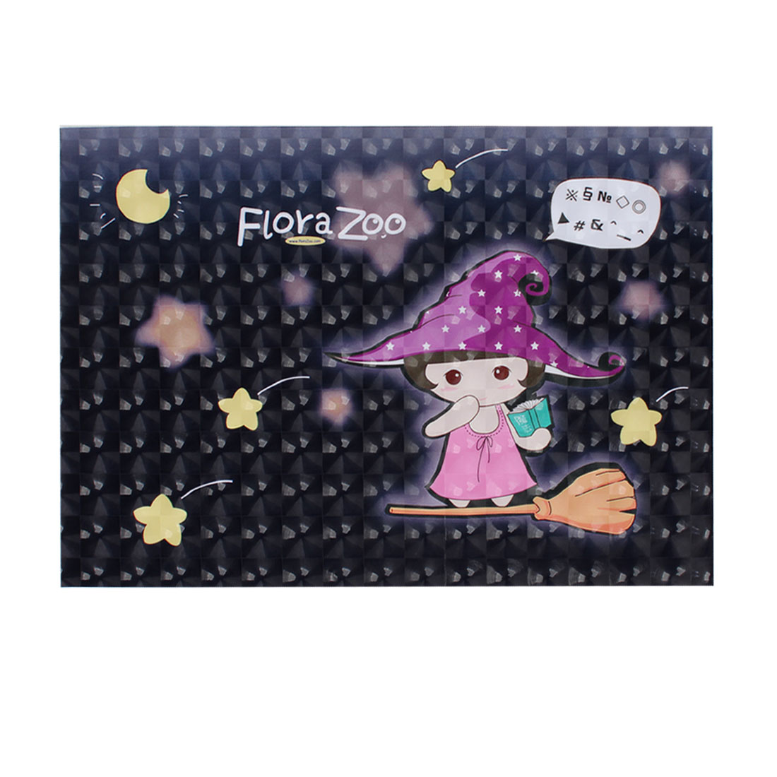 "Cartoon Hatted Girl Yellow Star Moon Dark Gray 3D Sticker Decal for 14"" Laptop"