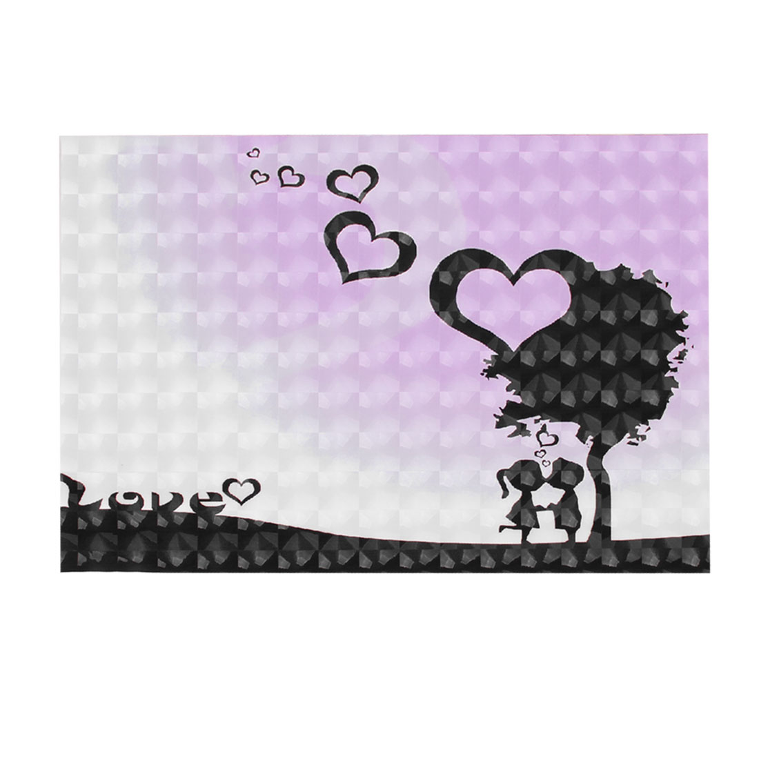 "Black Cartoon Girl Boy Love Heart Pattern 3D Sticker Decal for 14"" Laptop PC"