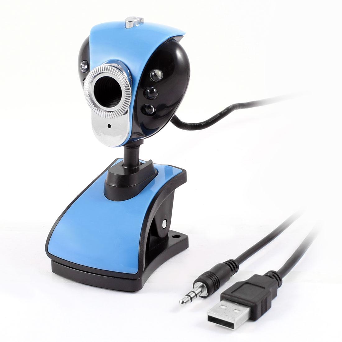 Light Blue Black White Light 6 LEDs USB Webcam Camera w Mic for Desktop Laptop