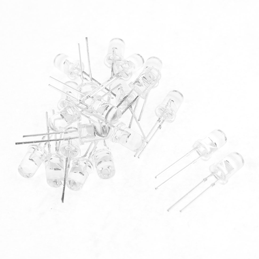 20 Pcs 3V 8mm Head Dia 2 Terminals Colorful LED Light Emitting Diode White