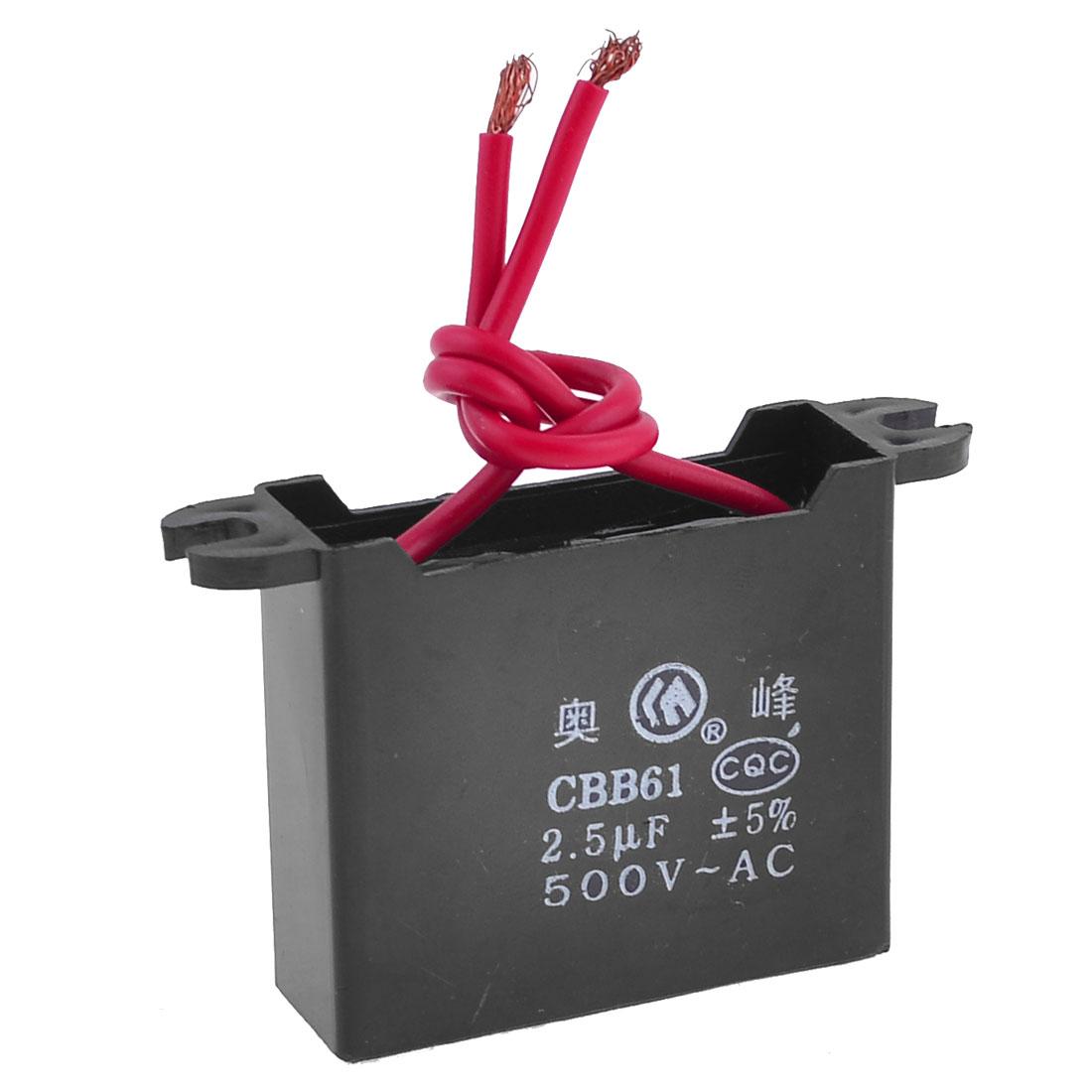 Polypropylene Film AC Motor Run Capacitor 2.5uF 500V CBB61