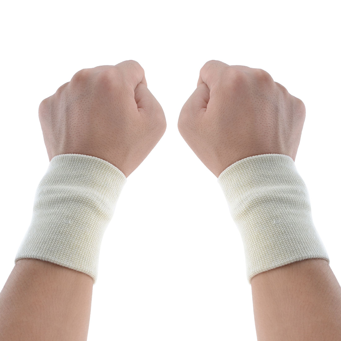 Gym Sports Beige Elastic Band Wrist Brace Support Protector