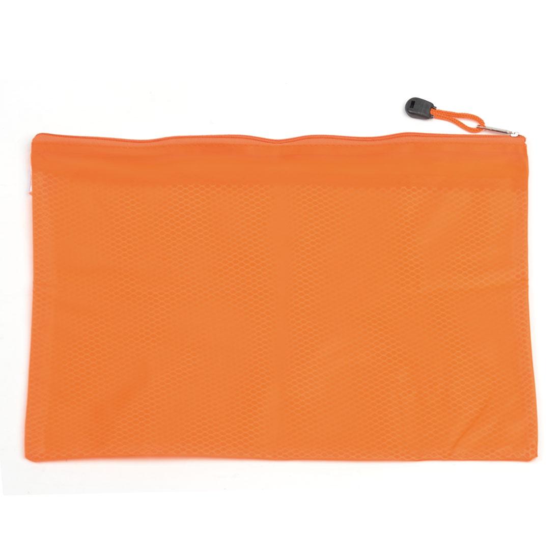 Zipper Hand Strap Design Stationery Holder File Bags Folder Orange