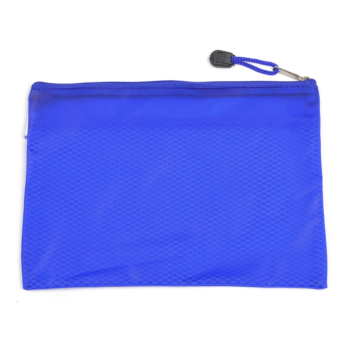 Students 24 x 17cm Mesh Designed PVC Pen File Bags Folder Blue