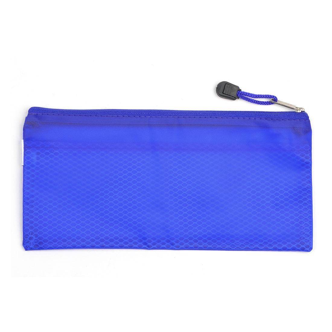 Netting Designed Zipped Closure Pen File Bags Pocket Orange