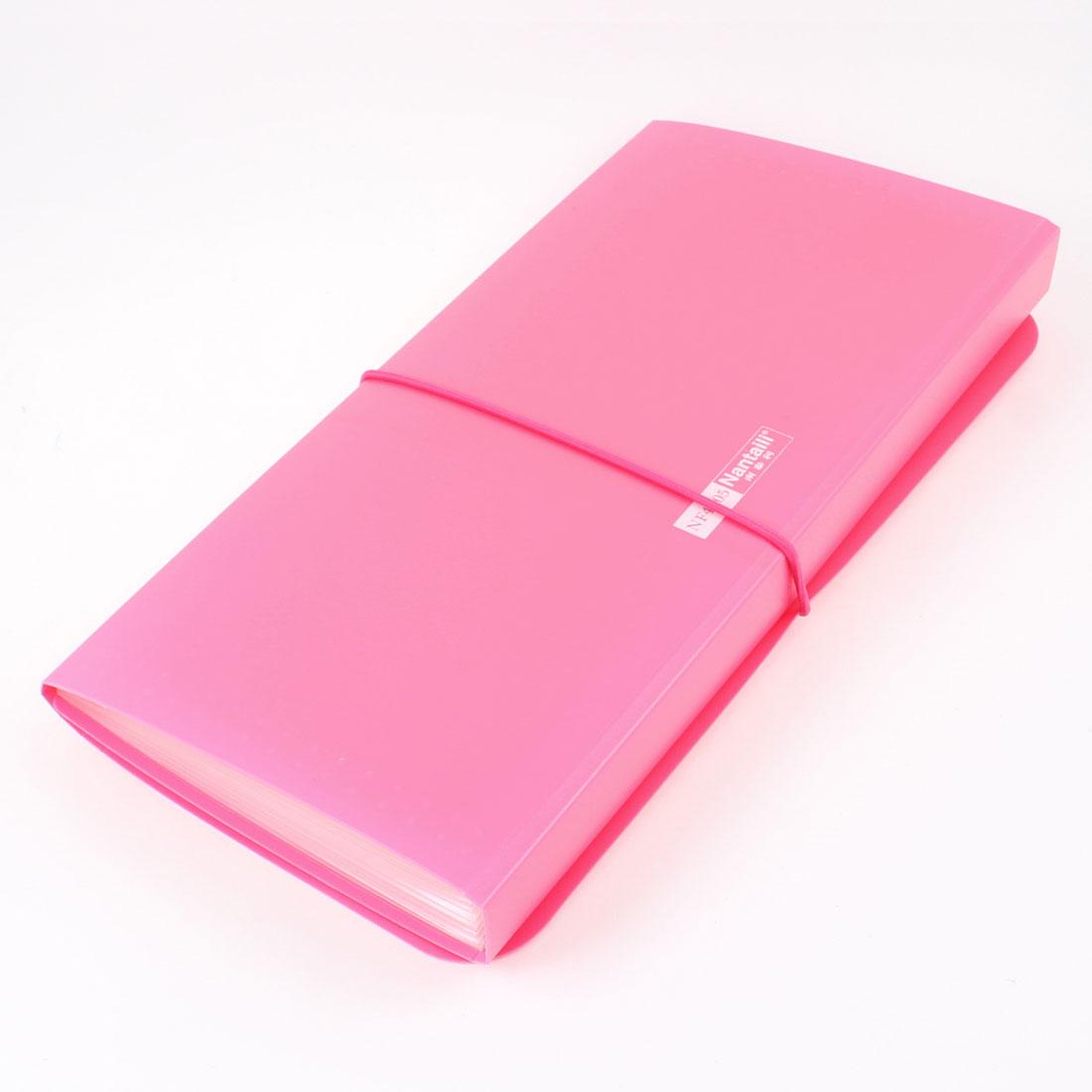 Flexible Strap Closure 13 Pocket Plastic Cover Bill Paper File Folder Fuchsia