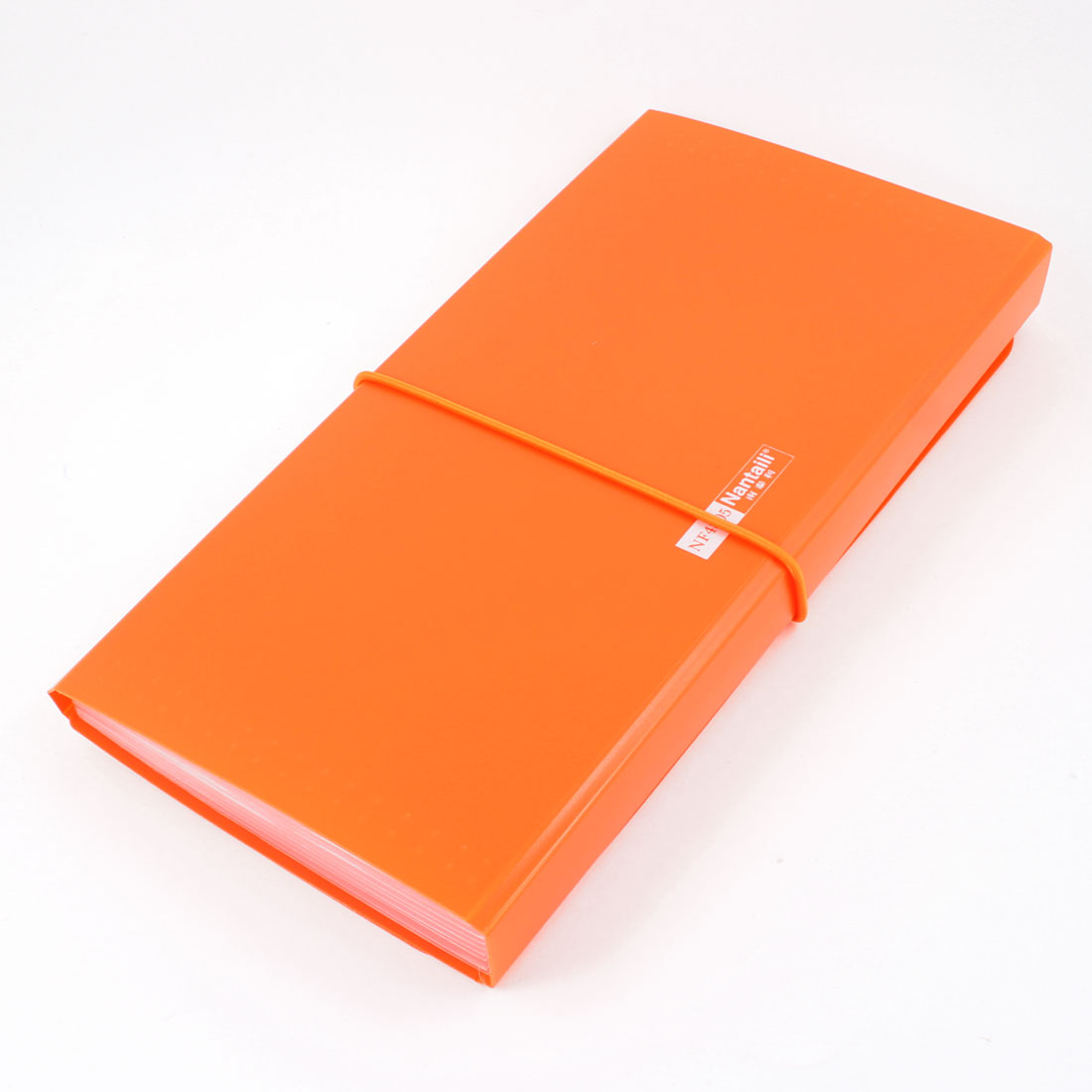 Orange Plastic Shell Elastic Strap Closure 13 Page Letters Paper File Folder