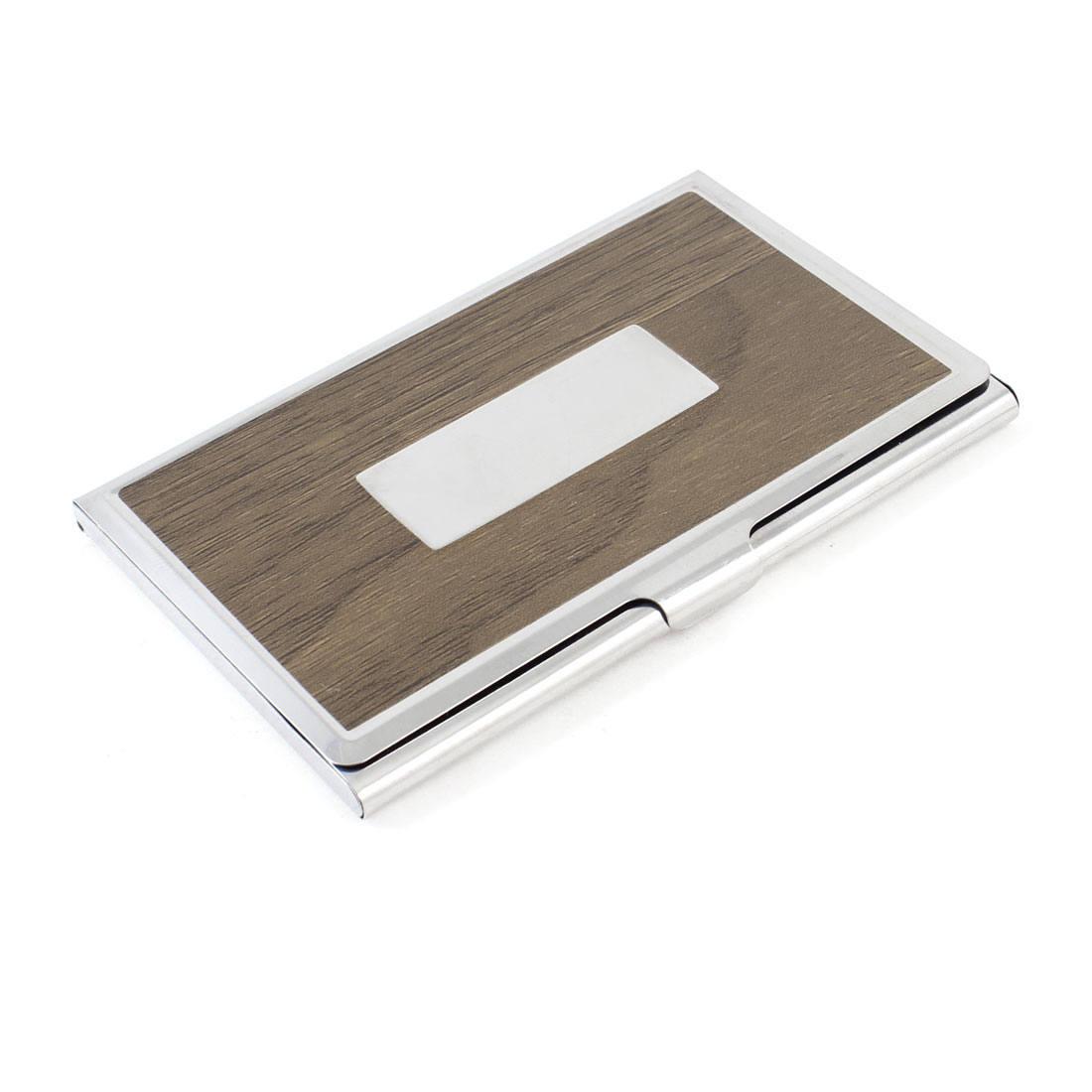 Rectangle Metal Business Card Holders Organizer Wood Color
