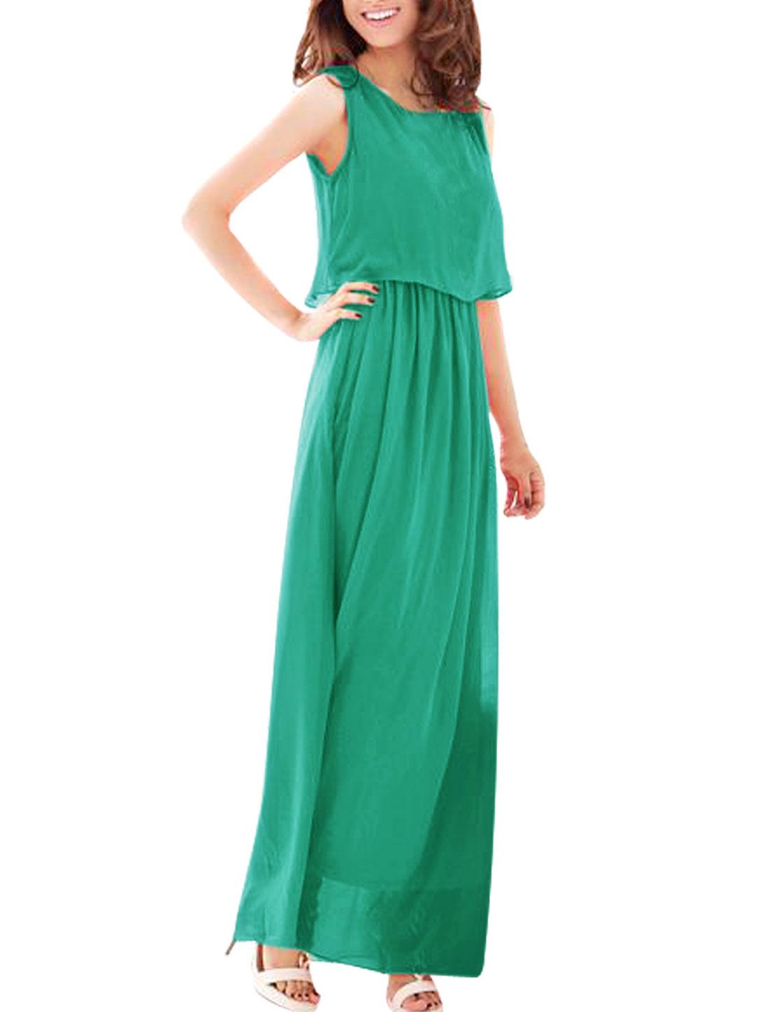 Ladies Chic Scoop Neck Sleeveless Sea Green Full Length Dress XS