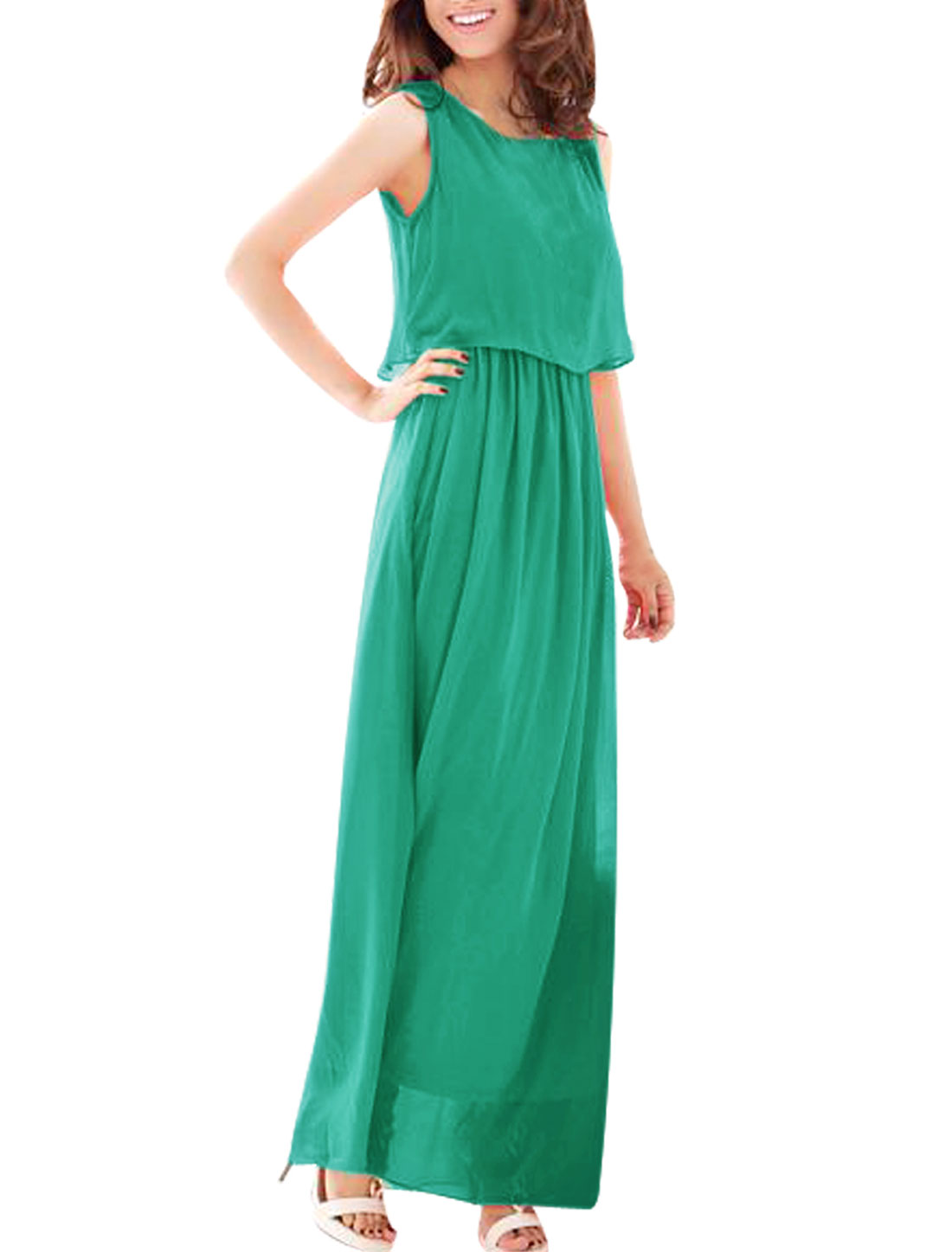 Stylish Women Sea Green Elastic Waist Splice Design Long Dress M