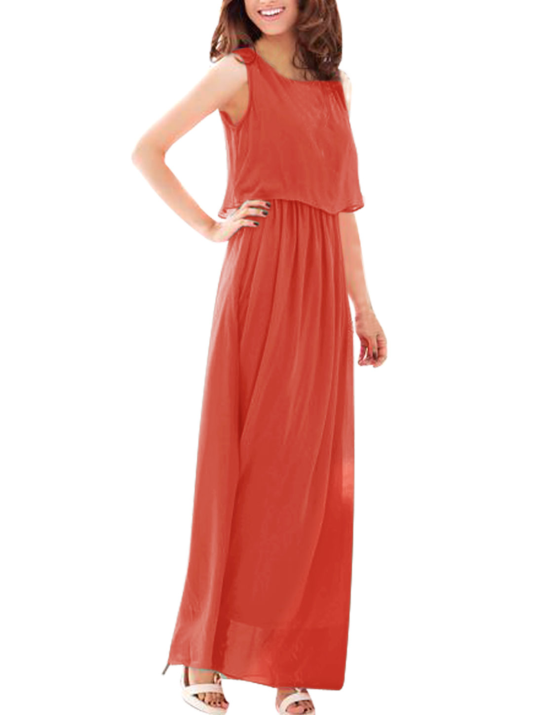 Woman Chic Orange Red Color Elastic Wasit Casual Full Length Dress XS