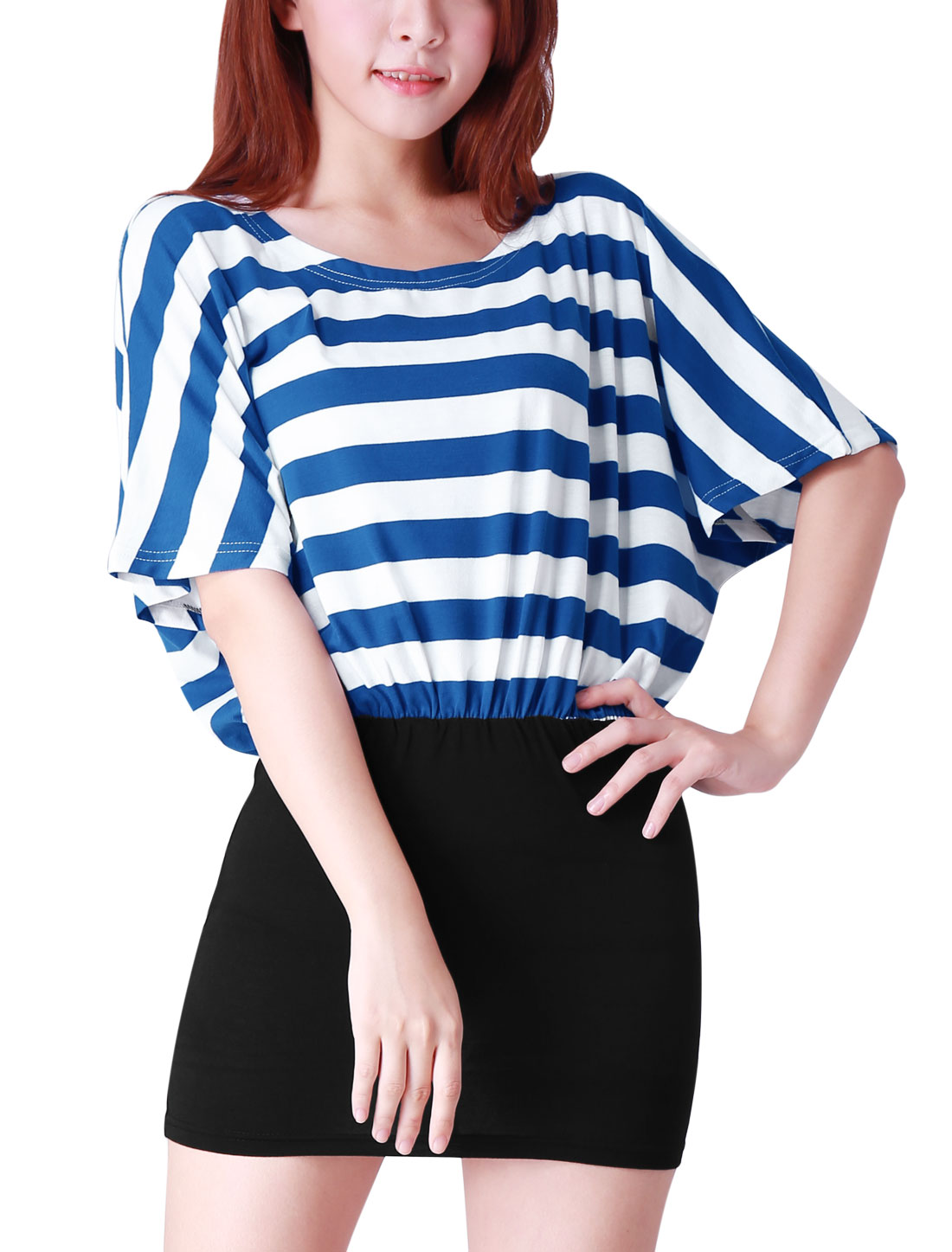 Woman Chic Dark Blue Striped Top Black Splice Casual Mini Dress M