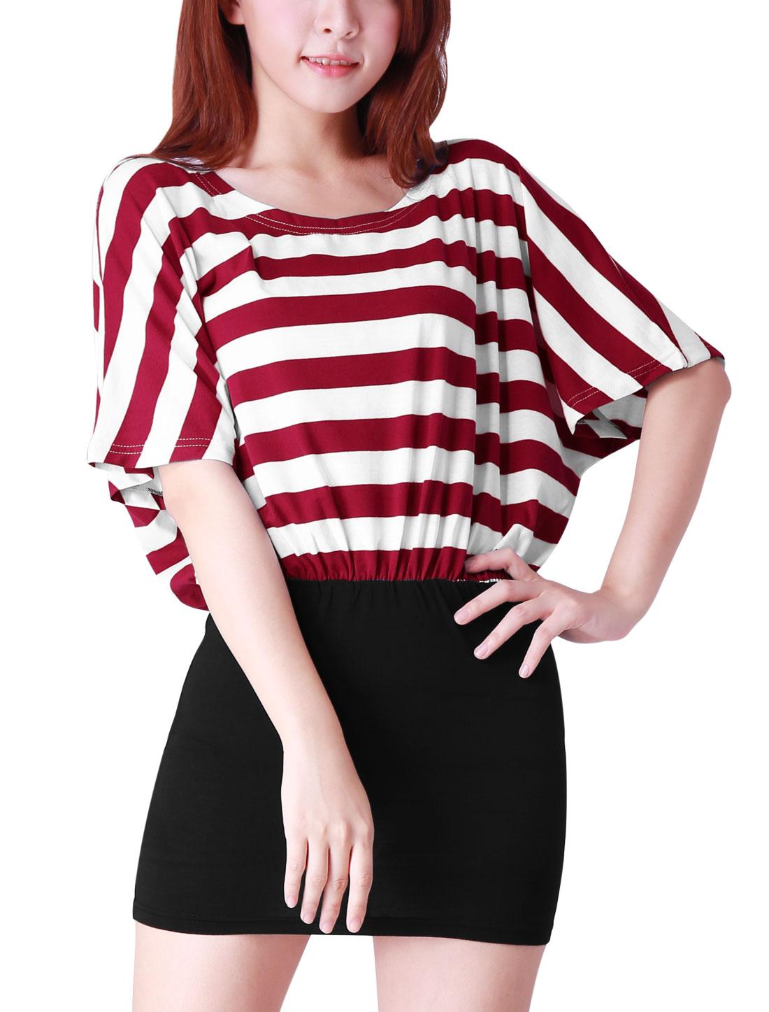 Woman Chic Scoop Neck Short Dolman Sleeve Warm Red Black Mini Dress XS
