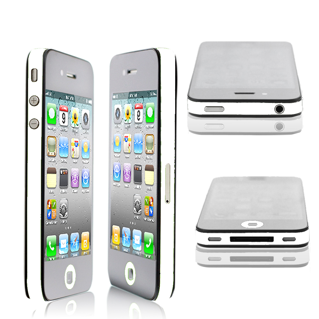 Bumper Edge Wrap Side Decal Skin Shield Sticker White for iPhone 4G 4S