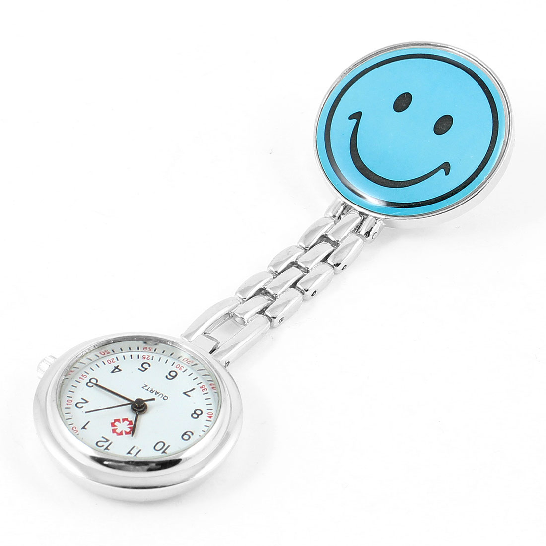 Portable Nurse Nursing Blue Smile Pattern Clip Chain Watch
