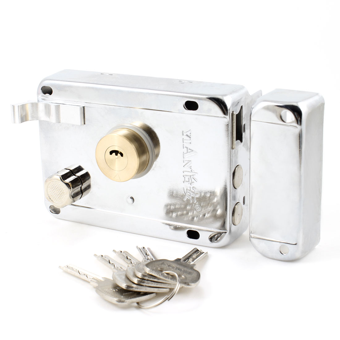 Office Silver Tone Metal Left Hand Door Deadbolt Rim Lock + 5 Keys