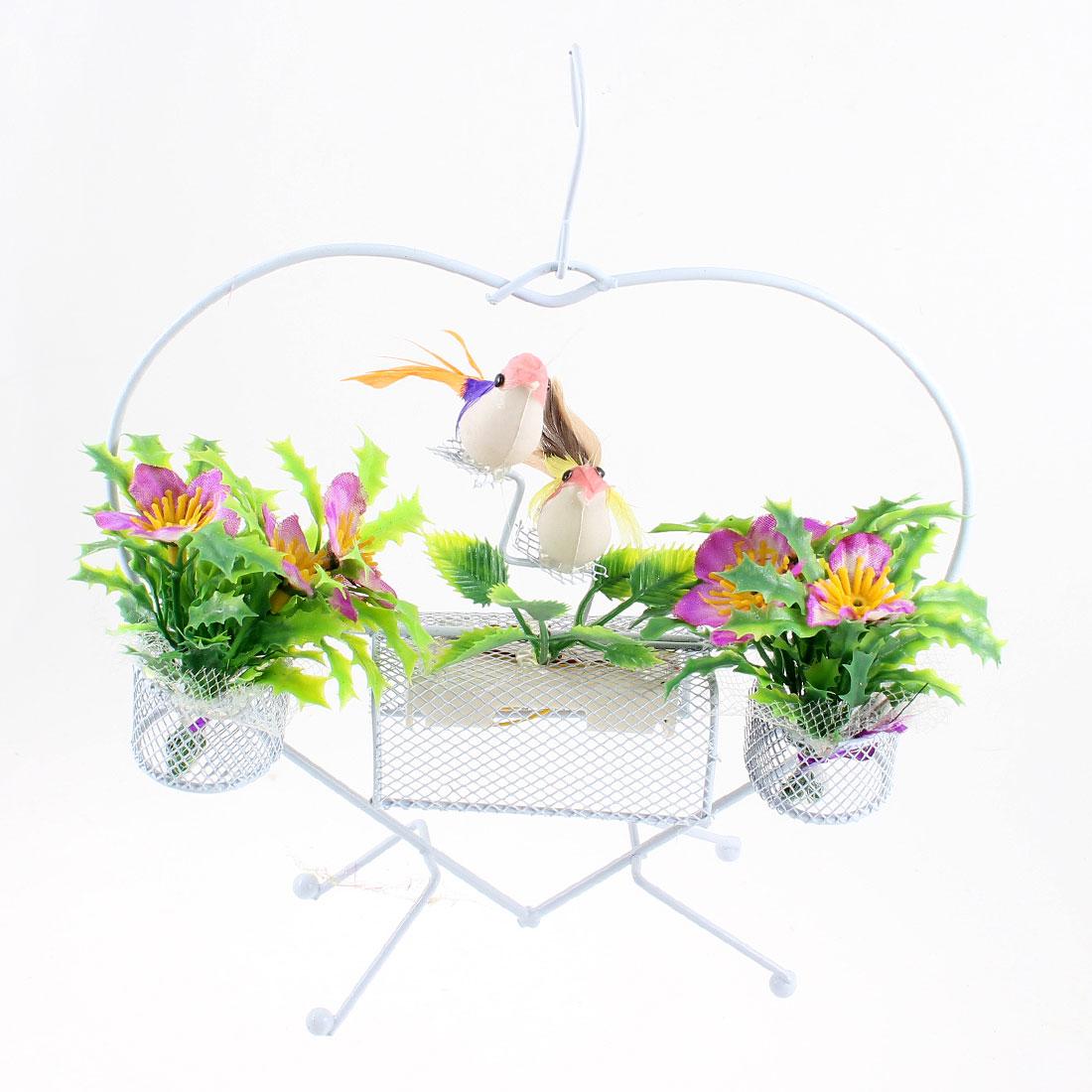 Heart Design Blue Yellow Birds Accent Sound Flower Basket Ornament w Hook