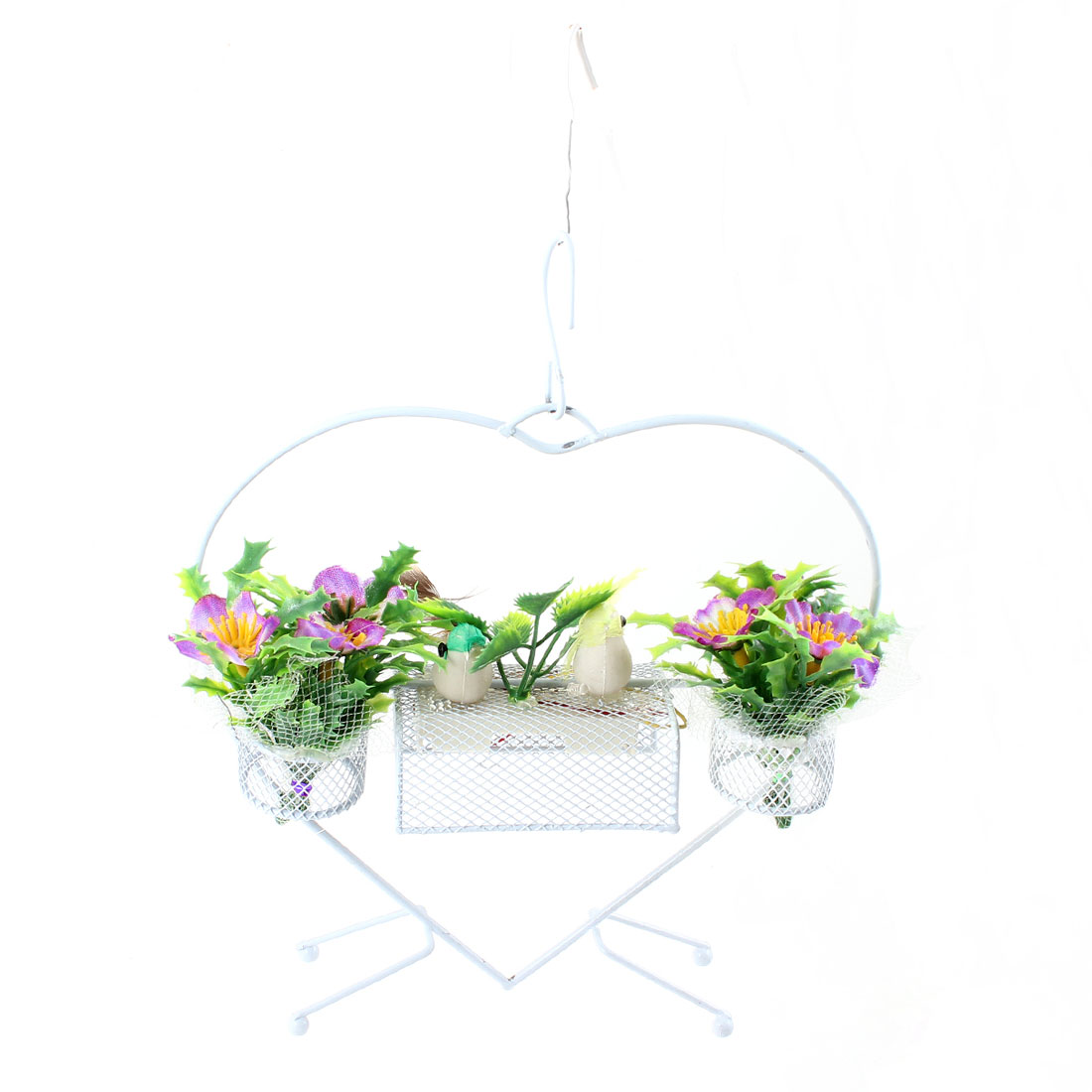 Heart Shape Plastic Green Yellow Birds Decor Sound Flower Basket Ornament