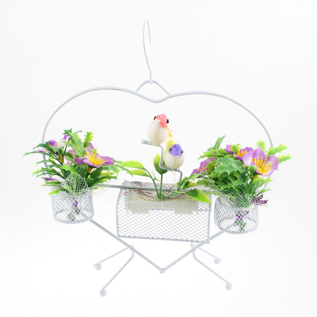 Colorful Birds Decor White Heart Shape Frame Sound Flower Basket Ornament w Hook