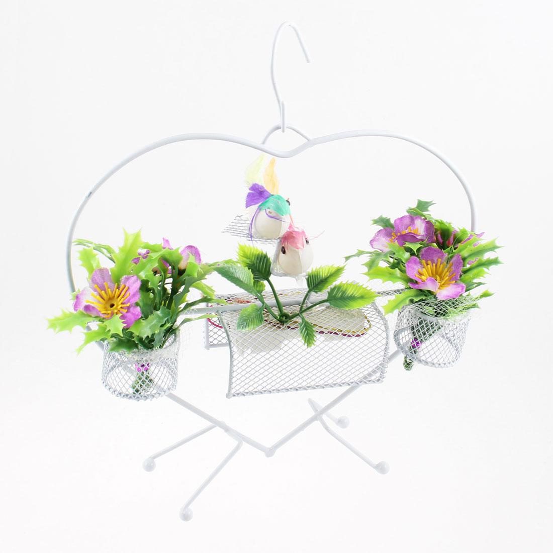 Heart Design Colorful Birds Accent Purple Sound Flower Basket Ornament w Hook