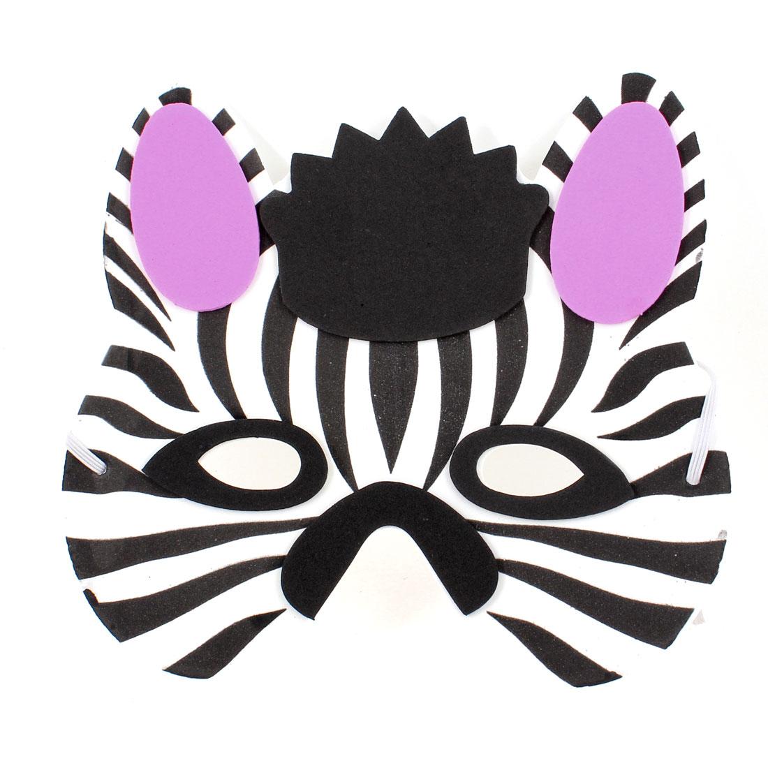 Black Purple White Foam Fox Head Shape Face Mask for Children