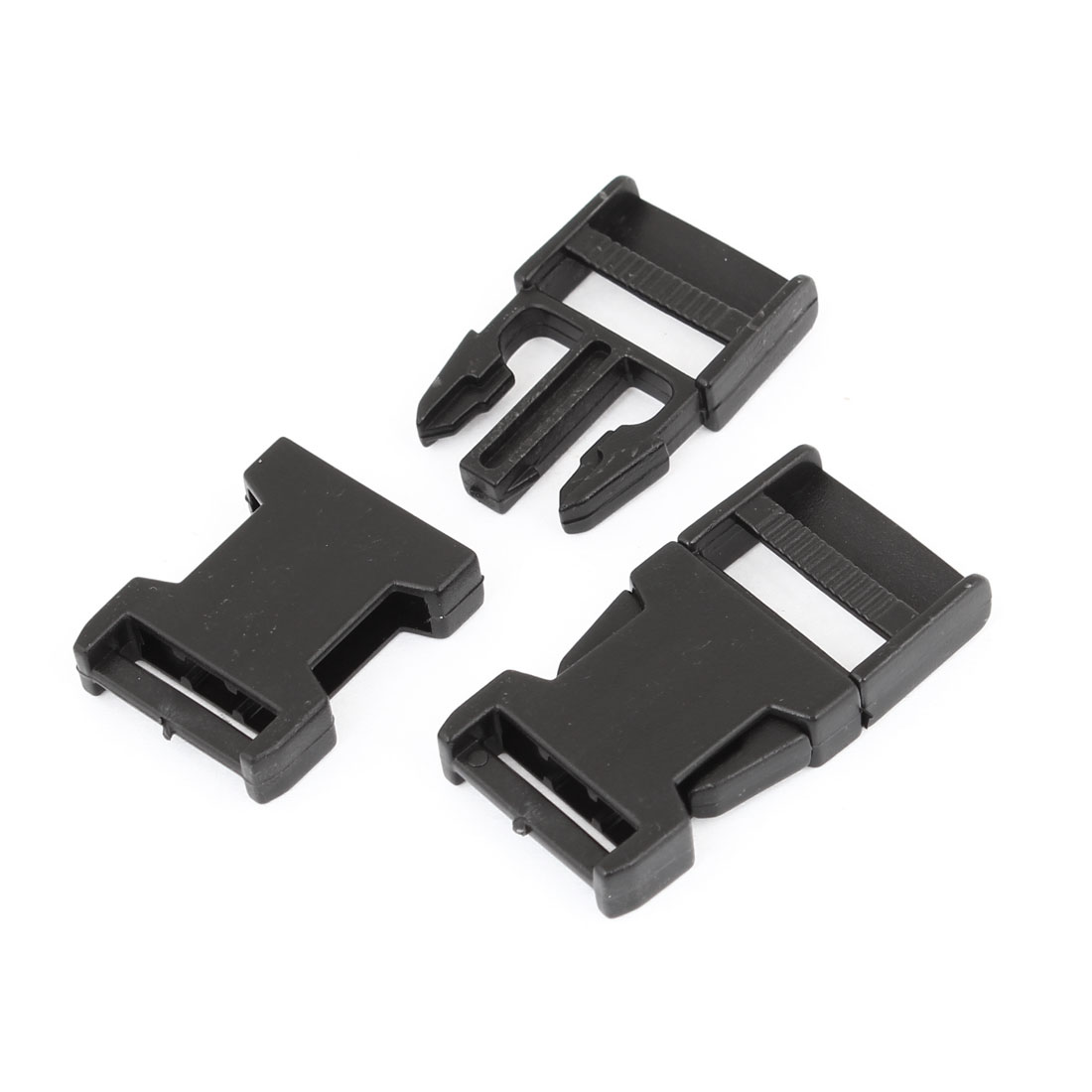 "2 Pcs Black Replacement 2cm 3/4"" Side Quick Release Buckle"