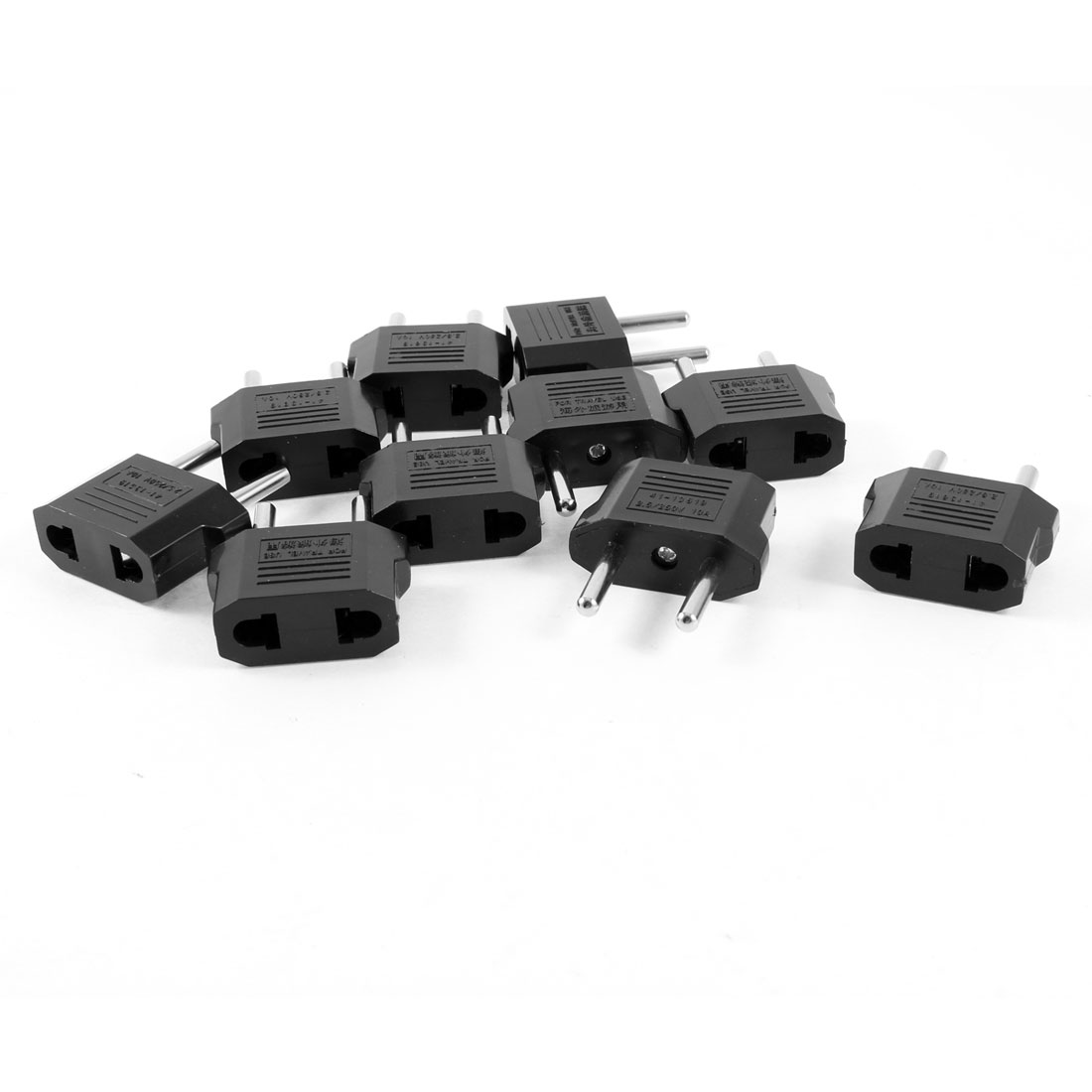 AC 10A 250V US to EU 2 Terminals Round Plug Adapter Travel Power Connector 10 Pcs