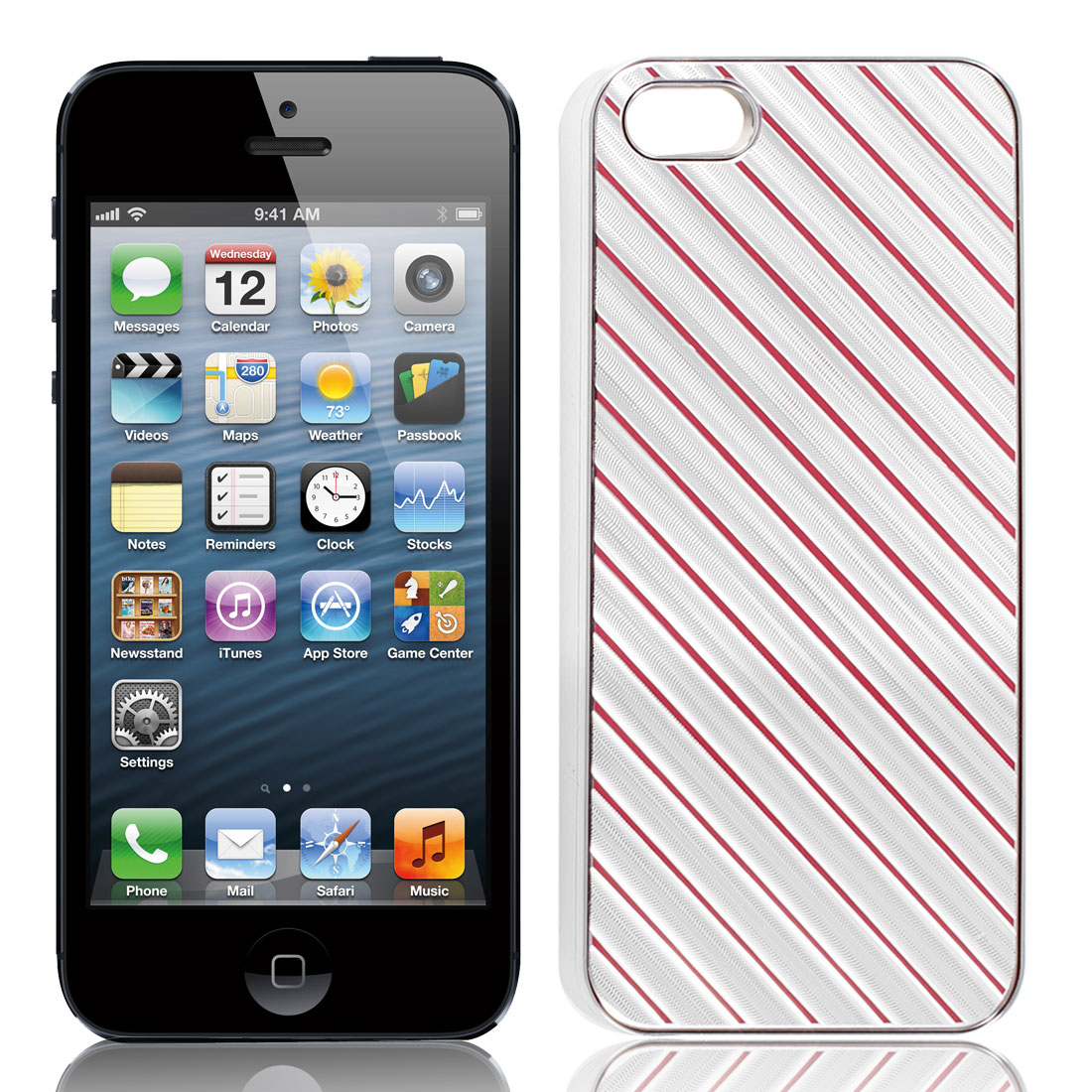 Slanted Striped Pattern Chrome Plated Back Cover Silver Tone Red for iPhone 5